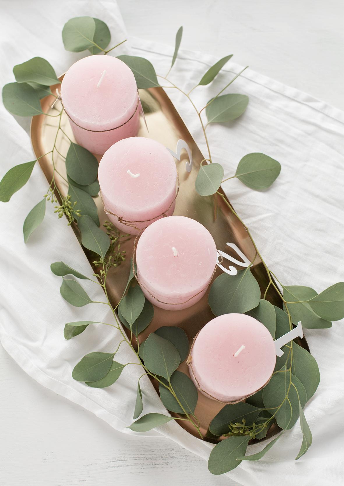 adventskranz ein traum in rosa und gold. Black Bedroom Furniture Sets. Home Design Ideas