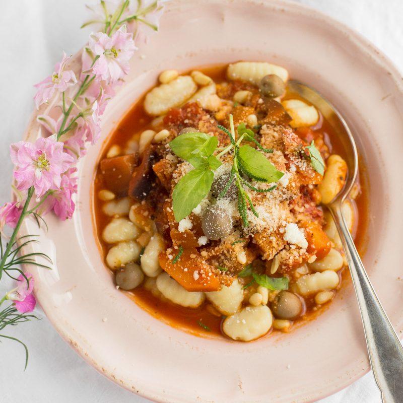 Glutenfreie Gnocchis mit Süßkartoffel-Auberginen-Tomatensoße