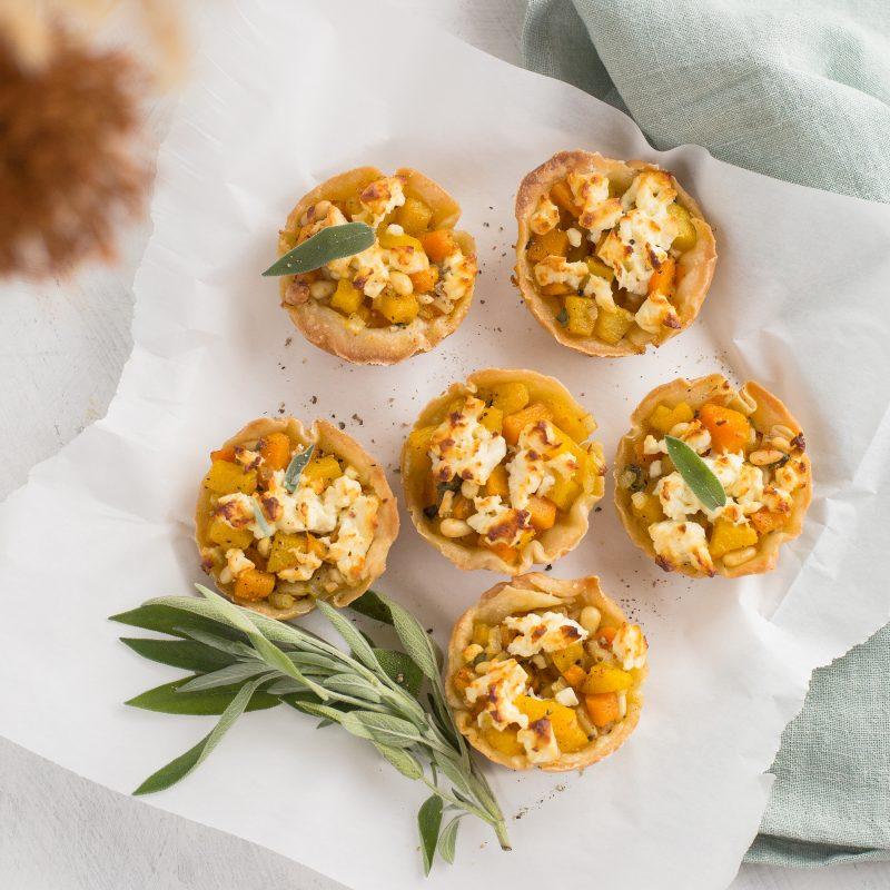 Kürbis Blätterteig Muffins mit Feta