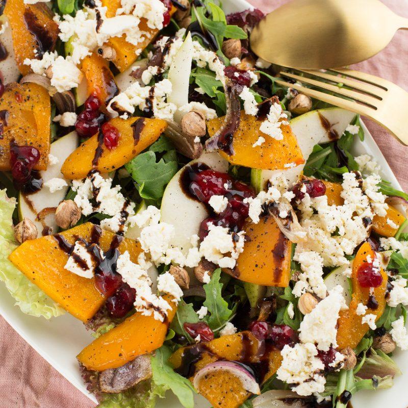 Easy Herbstsalat mit Butternusskürbis